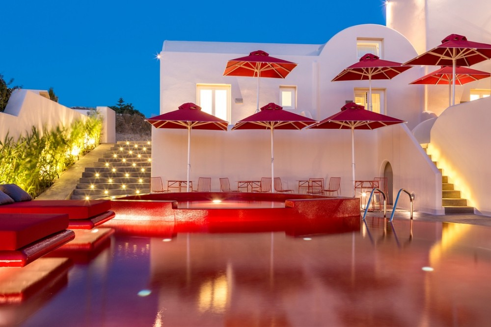 red hotel pool